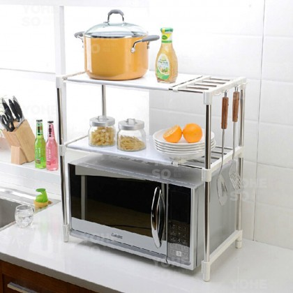 YOHESO 2 Layer Expandable 85cm Stainless Steel Rack Microwave Storage