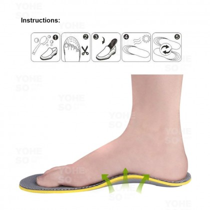 YOHESO 1 Pair Foot Cushion Arch Support Shoe Insole Bamboo Charcoal