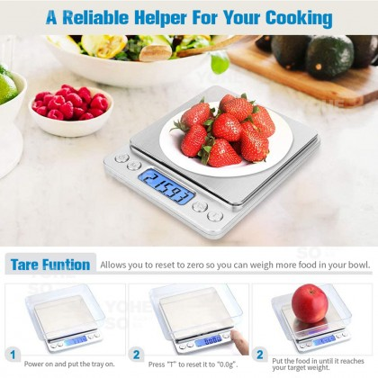 YOHESO 3KG 0.1G Mini Scale LCD Display Digital Kitchen Weight Cake Baking Scale With Tray Penimbang Kek [FREE BATTERIES]